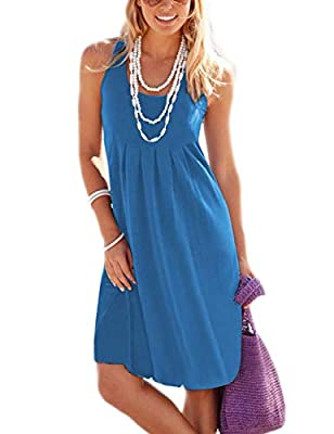 Traleubie Women's Casual Summer Tank Sleeveless Knee Length Vest Pleated Sun Dresses