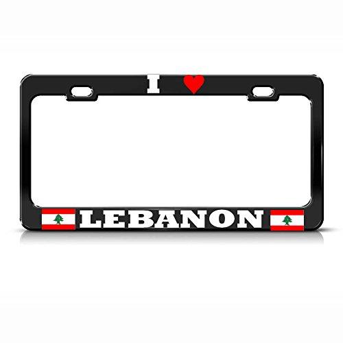 Mond I Love libanesische Libanon-Flagge, schwarz, Nummernschild-Rahmen Auto SUV Tag Bordüre perfekt für Männer Frauen Auto Garadge Dekor