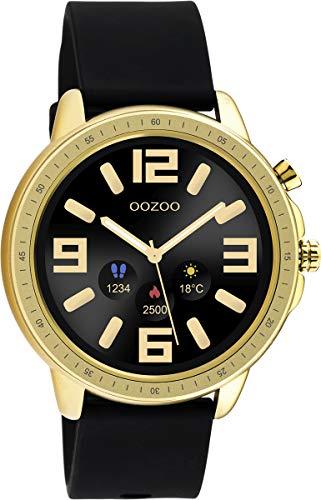 Oozoo Unisex Smartwatch mit schwarzem Silikonband Goldfarben/Schwarz 45 MM Q00301