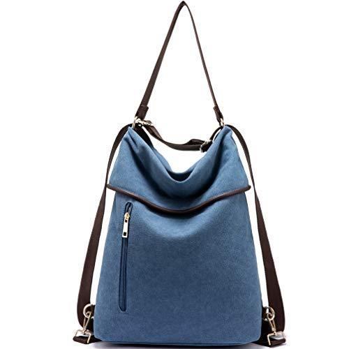 Canvas Rucksack Tasche Damen 2 in 1 Handtasche Damen Herren Schultertasche Groß Umhängetasche Damen Anti Diebstahl Daypack für Alltag Büro Schule Ausflug Einkauf - Blue