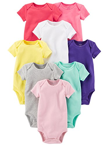 Carter's Baby Girls' 8-Pack Short-Sleeve Bodysuits, Assorted Pack, 24M