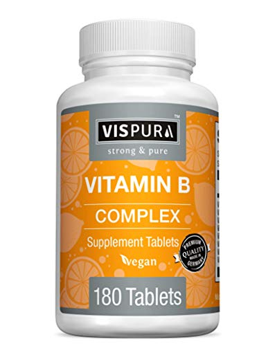 Vitamin B-Complex, 180 Vegan Tablets, All B Vitamins Including B12, B1, B2, B3, B5, B6, B7, B9, Folic Acid, for Stress, Energy and Healthy Immune System*, Natural Supplement Without Additives