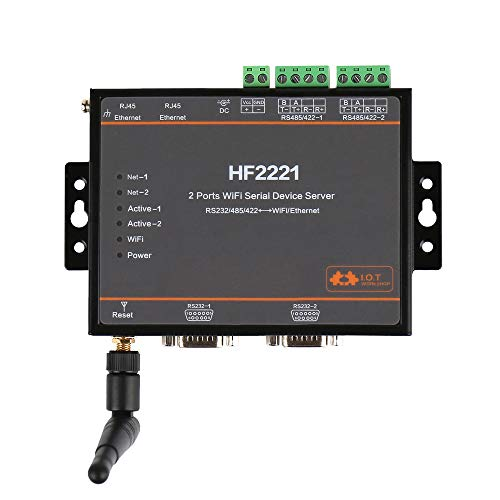 Industrial Modbus 2Ports Serial Server RS232/RS485/RS422 to WiFi Ethernet Device Converter Connector Unit