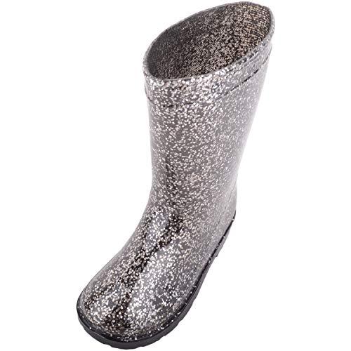Absolute Footwear Gummistiefel für Kinder und Mädchen, zum Reinschlüpfen, für Regen und Winter, glitzernd, Schwarz - Schwarz - Größe: 24 EU