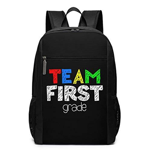 Team First Grade - Bolsa de viaje para portátil de 17 pulgadas con compartimento grande, para hombres y mujeres, color negro