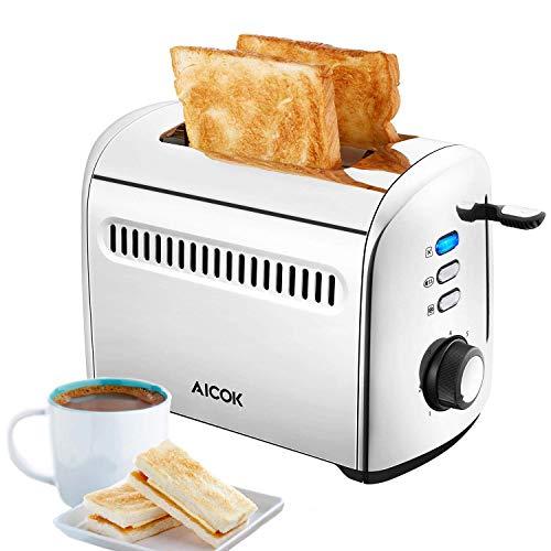 Tostapane, Aicok Tostapane 2 Fette da 950W, Acciaio Inox, 7 Livelli di Tostatura, Funzioni di Scongelamento e Riscaldamento, Tostapane per Toast, Sandwich, BPA Free