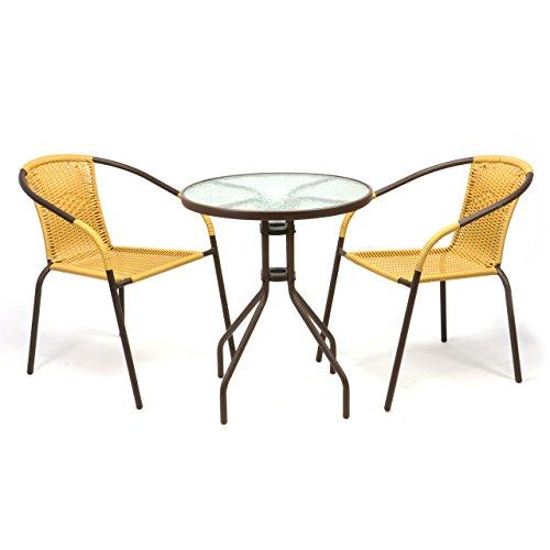 Nexos Bistroset Balkonset Rattanset – Sitzgarnitur aus Glastisch & Bistrostuhl – Stahlgestell Poly-Rattan Glasplatte – robust stapelbar – beige