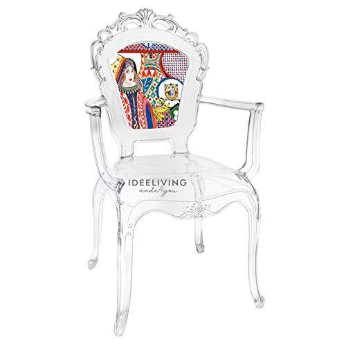 Sessel aus Polycarbonat mit Armlehnen, Kollektion Baroque & Rock Sicily von Baci Milano – Königin der Herzen