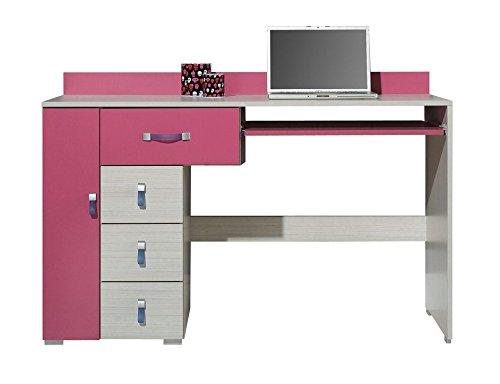 """Kinderzimmer - Schreibtisch """"Felipe"""" 13, Rosa / Weiß - Abmessungen: 130 x 86 x 55 cm (B x H x T)"""