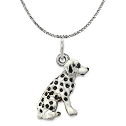 Sterling Silver Enameled Dalmatian Charm on a Sterling Silver Chain Necklace