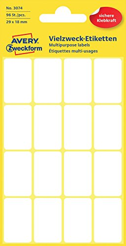 Avery Zweckform 3074 Haushaltsetiketten selbstklebend (29 x 18 mm, 96 Aufkleber auf 6 Bogen, Vielzweck-Etiketten für Haushalt, Schule und Büro zum Beschriften und Kennzeichnen) blanko, weiß