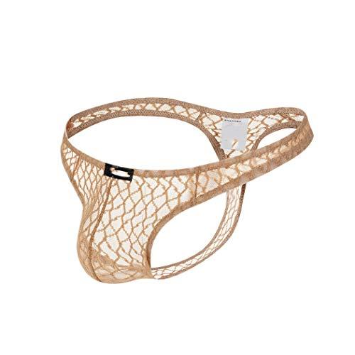 Wiftly Slips Herren sexy Ouvert Beutel Unterhose Erotik Netz Unterwäsche Low-Rise U Convex Bequeme Strings Tanga (L, Hautfarbe)
