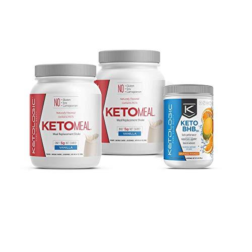 KetoLogic Keto 30 Challenge Bundle: Tim Tebow Approved | 30-Day Supply Keto Meal Replacement Shakes with MCT & BHB Exogenous Ketones Powder | Kickstarts Your Ketogenic Diet | Vanilla & Orange Mango