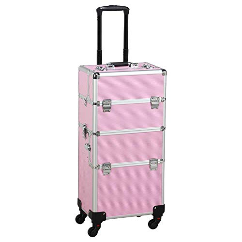 Yaheetech Aluminium Makeup Case 3 in 1 Cosmetic Travel Case Organiser Rolling Trolley on wheels for women/Salon Hairdresser Pink