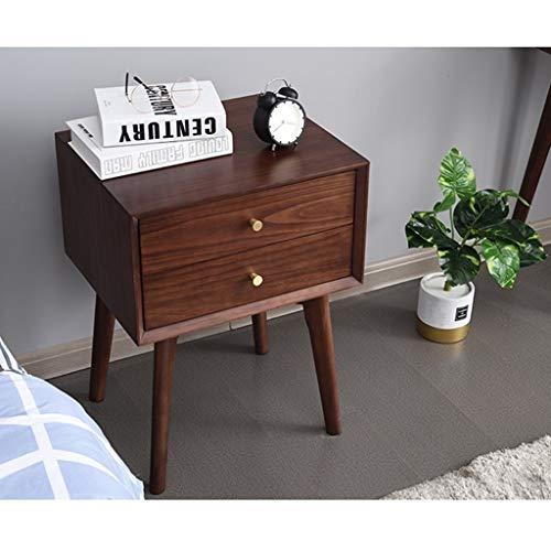 Lagertisch, Wohnzimmer Beistelltisch, Modern Pine Nachtkaffeetisch, 2-Tier-Schublade, Kupfer Griff, mit festen Beinen (Farbe : Braun)