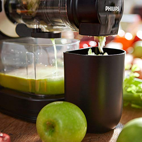 Philips Viva Cold Press Masticating Slow Juicer with X-Large Feed Tube, Drip Stop, Quick Clean and Recipe Booklet, 150 W, Black/Silver - HR1889/71