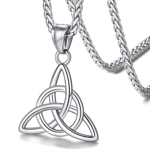 FaithHeart Nudo Celta Collar Irlandés de Buena Suerte para Hombres Mujeres Colgante Redondo/Triángulo Acero Inoxidable 316L Amuleto de Protección Joyería Culturismo para Familia