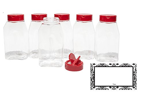 Baire Bottles - 8 Ounce Clear Plastic Spice Jars, 6 Pack, Red Flapper Lid,...