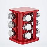 JMAHM Gewürzregal Organizer Edelstahl Drehbarer Gewürzkarussell für 12 Glasflasche Gewürzdosen mit Deckel (Rot)