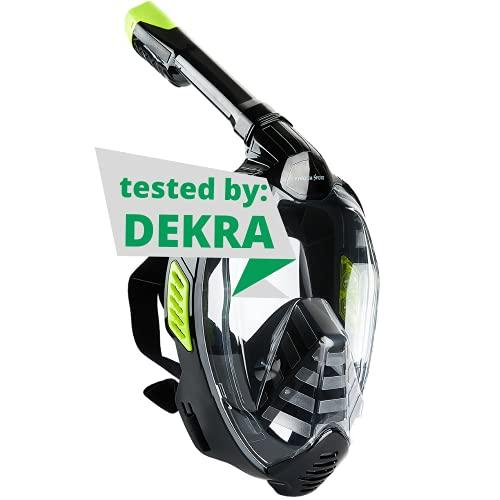 Khroom® Máscara de Snorkel Segura para CO2, Máscara Facial de Esnórquel Antivaho | Seaview X - Máscara de Buceo para Adultos y niños (Negro, L/XL)