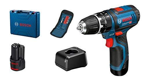 Bosch Professional 12V System GSB 12V-15 - Taladro percutor a batería (30 Nm, 1300 rpm, set 10 accesorios, 2 baterías x 2.0 Ah, en maletín)