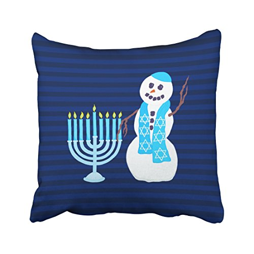 Emvency Decorative Throw Pillow Cover Square Size 20x20 Inches Holiday Snowman Blue Menorah Holiday Pillowcase with Hidden Zipper Decor Cushion Gift for Holiday Sofa Bed