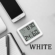 Termómetro Higrómetro Termómetro multifunción Higrómetro Monitor de humedad electrónica automática Reloj de monitor de humedad grande Pantalla LCD grande 1pcs Digital Termohigrómetro ( Color : White )
