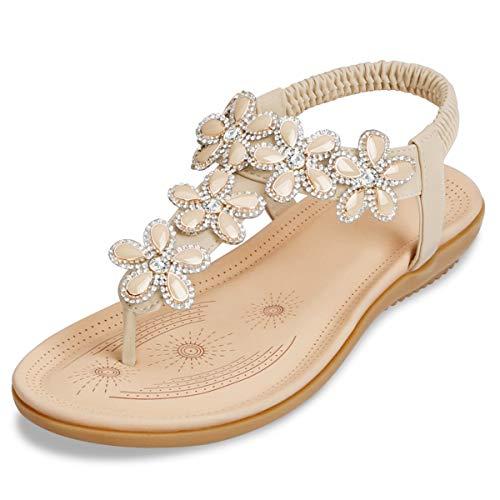 ZOEREA Damen Sandalen Sommer Flach Sandals, Frauen Bohemia Strass Sandals PU Leder Elastischen Strand Sommerschuhe Zehentrenner Beige,37