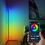 """Borayhome LED RGB Corner Floor Lamp Color Changing Lamp with APP Control, Smart Minimal Floor Lamp, 60"""" Tall Dimmable Standing Lamp, Ambient Mood Night Light for Living Room, Bedroom, Party - Black"""