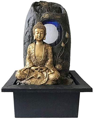 Equipo de Vida Fuente Zen Interior Fuente de Agua de Buda Dorado Relajación Interior Cascada de Mesa Fuente Zen 22 Pulgadas de Alto Adornos de Feng Shui Decoración de la Fuente