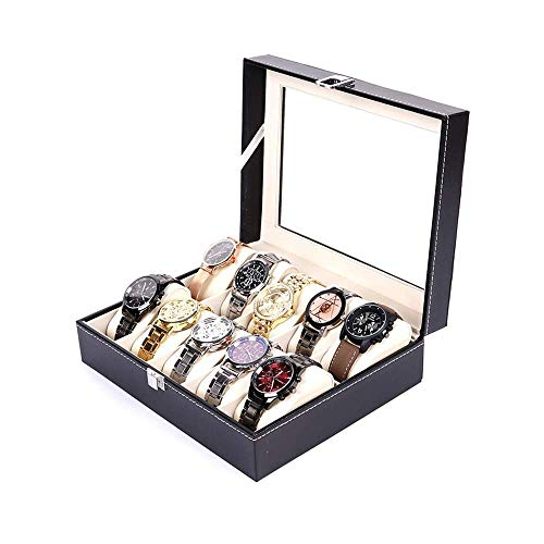 DXX-HR Watch Box Men's Watch Organizer PU Leather Lockable Black Watch Display Storage Box for 10 Watches Watch Organizer (Color : Black, Size : One Size) (Color : Black)