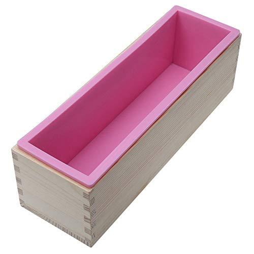 Perfectii Silikon Seife Form, Handgemachte Seifen Form Rechteckig Soap DIY Formen Craft Seifenherstellung Form mit Holzkasten für 1,2 kg Seifenmasse
