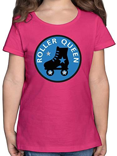 Sport Kind - Roller Queen Rollschuh - 116 (5/6 Jahre) - Fuchsia - t-Shirt Rollschuhe Kinder - F131K - Mädchen Kinder T-Shirt