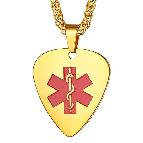 U7 Colgantes Dorado Púa de Guitarra Musical Collares Medicales Cruz Roja Acero Inoxidable para Ancianos Enfermos Joyería de Identidad