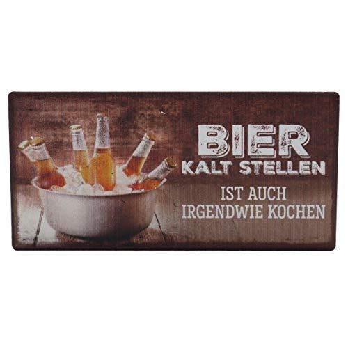 Dekohelden24 Metall Kühlschrank-Magnet im Vintage-Look, 10 x 5 cm, Motiv: Bier kalt Stellen ist auch irgendwie Kochen