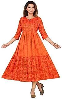 CEEMAYA Women's Cotton Rayon A-Line Maternity/Feeding Dress With Zipper (9742)