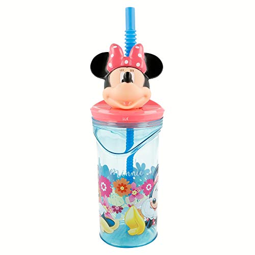 Elemed Minnie Mouse Verre en Plastique avec Figurine 3D 350 ML