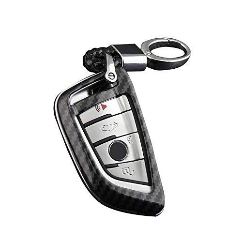 NOWAYTOSTART Schlüsselhülle Cover Auto Key Cover Case Autoschlüssel Hülle Für Jeep Dodge Chrysler kohlefaser schlüsselanhänger Kette zubehör Abdeckung Fall Ring Für BMW 5er 525li530 Blade 7er