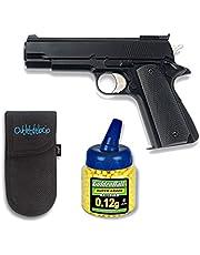 Outletdelocio. Pistola airsoft HFC negra. Calibre 6mm. + 1000 Bolas + Funda Portabolas. 61852/21993/23054