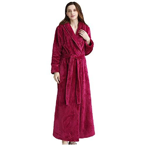 De otoño Invierno de Las Mujeres Cintura Suave paño Grueso y Suave del Traje de Terciopelo de Coral Albornoz Integrado Cinturón Pijama camisón,Rose Red-XL