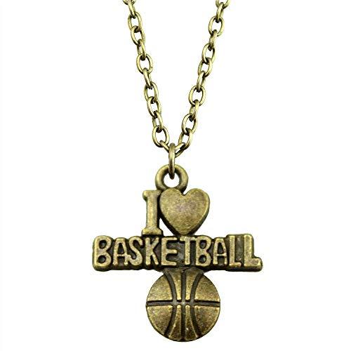 WYSIWYG 3 Piezas Cadena De Metal Collares Colgantes Collar Vintage Hecho A Mano I Heart Basketball 21x20mm