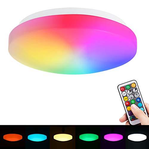 1 x Farbwechsel-LED-Deckenleuchte, RGBW + Cool + Warmweiß, 26 cm, 15 W wasserdicht (IP44), 1200 lm, Dual-Speicher, Fernbedienung für Badezimmer, Schlafzimmer, Wohnzimmer [Energieklasse A+]