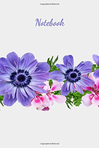 Notebook: Blank Notebook 6 x 9, good for notes, diary, journaling, sketching,drawing, fitness and any tracking Journal, Purple and Pink Band of Flowers Cover