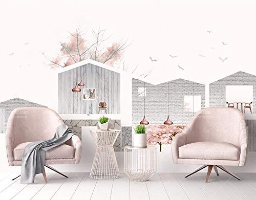 Ptcta Papel pintado simple nórdico IKEA pared de ladrillo madera grano pequeño árbol minimalista TV fondo pared-420cm(W) x 260cm(H)