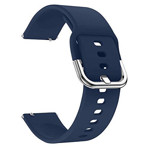 EWENYS Cinturino sportivo in silicone morbido per smartwatch, Compatibile con Samsung Galaxy Watch Active 2 40mm 44mm / Garmin vivoactive 3 / Amazfit GTS GTR 42mm (20mm, Blu navy)