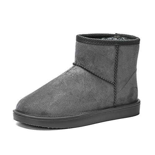 DKSUKO Damen Classic Short Stiefeletten Schlupfstiefel Klassisch Leder Stiefel Kurzschaft Winterschuhe 36-42 EU (36 EU, Grau)