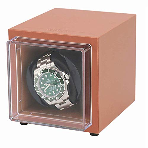 GJJSZ Unisex Single Analog Display Uhrenbeweger mit Cover Watch Winder für automatische mechanische Uhren oder Rolex,tragbarer Mini-Uhrenbeweger AC oder batteriebetriebener Super Quiet Motor