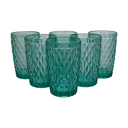 Homevibes Juego de 6 Vasos De Agua con Relieve, Set de 6...