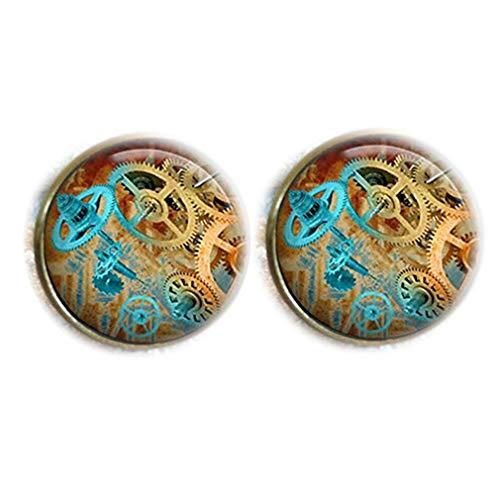 Bloody devil Time Jewelry,Vintage Steampunk Cogs Reloj de cúpula de cristal redondo Cabujón gemelos regalo de amor