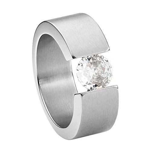 Heideman Ring Damen Turris aus Edelstahl Silber farbend matt Damenring für Frauen mit Swarovski Stein Zirkonia Weiss im Brillant Schliff 7mm